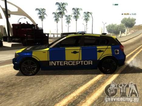 BMW 120i SE UK Police ANPR Interceptor для GTA San Andreas вид слева