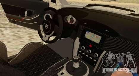 Infernus для GTA San Andreas вид изнутри