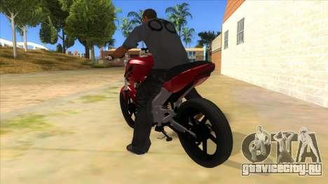 Honda Twister Stunt для GTA San Andreas вид сзади слева