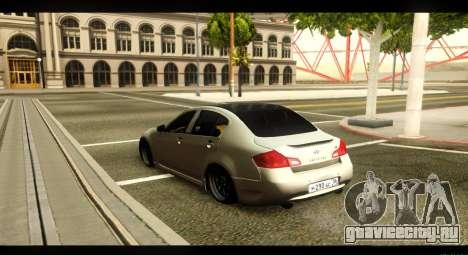 Infiniti G37 для GTA San Andreas вид сзади слева