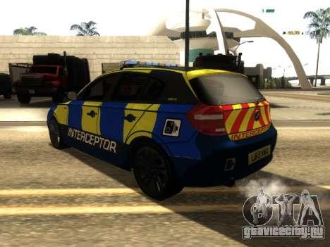 BMW 120i SE UK Police ANPR Interceptor для GTA San Andreas вид сзади слева