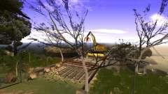 Строительство моста и густой лес