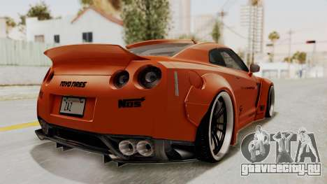 Nissan GT-R R35 Liberty Walk LB Performance для GTA San Andreas вид сзади слева