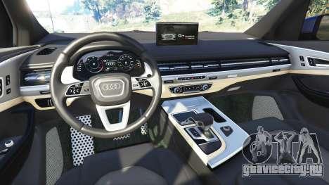 Audi Q7 2015 [rims1] для GTA 5 вид сзади справа