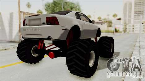 Ford Mustang 1999 Monster Truck для GTA San Andreas вид сзади слева