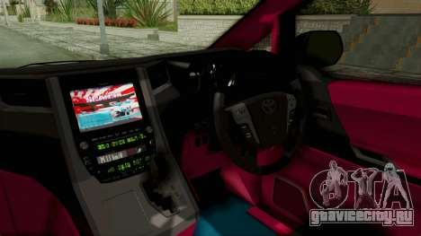 Toyota Vellfire Hatsune Miku Senbonzakura Itasha для GTA San Andreas вид изнутри