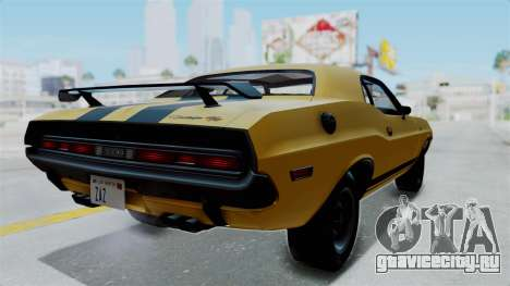 Dodge Challenger RT 440 1970 Six Pack для GTA San Andreas вид сзади слева