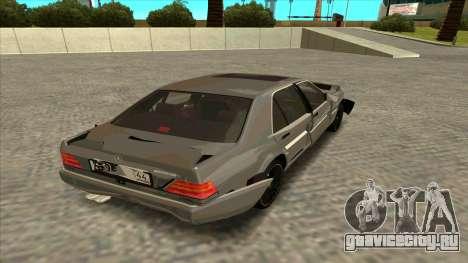 Mercedez-Benz W140 для GTA San Andreas вид изнутри