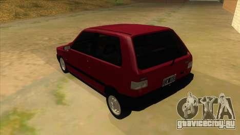 Fiat Uno S для GTA San Andreas вид сзади слева