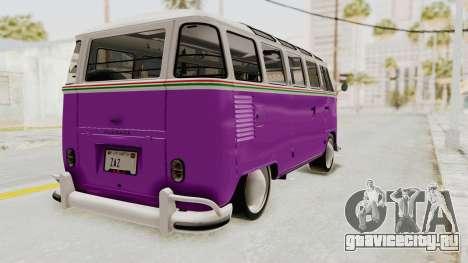 Volkswagen T1 Station Wagon De Luxe Type2 1963 для GTA San Andreas вид сзади слева