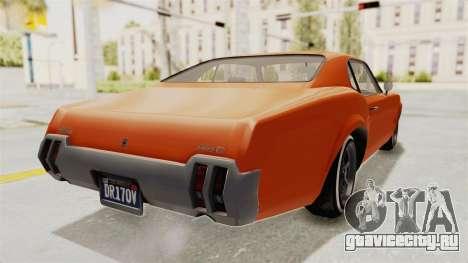 GTA 5 Declasse Sabre GT2 B для GTA San Andreas вид сзади слева
