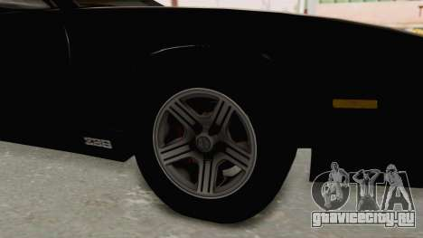 Chevrolet Camaro Z28 Iroc-Z Targa 1991 для GTA San Andreas вид сзади