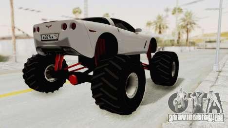 Chevrolet Corvette C6 Monster Truck для GTA San Andreas вид сзади слева