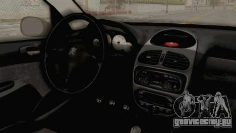 Peugeot 206 для GTA San Andreas вид изнутри