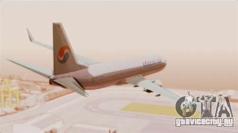 Boeing 737-800 Korean Air для GTA San Andreas вид справа