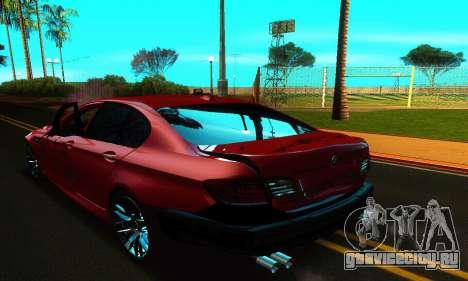 BMW M5 F10 2012 для GTA San Andreas вид снизу