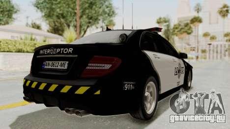 Mercedes-Benz C63 AMG 2010 Police v2 для GTA San Andreas вид справа