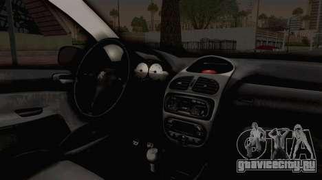 Peugeot 206 Full для GTA San Andreas вид изнутри