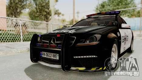 Mercedes-Benz C63 AMG 2010 Police v2 для GTA San Andreas вид сзади слева