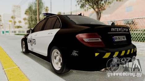 Mercedes-Benz C63 AMG 2010 Police v2 для GTA San Andreas вид слева