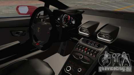 Lamborghini Huracan 2014 Stock для GTA San Andreas вид изнутри