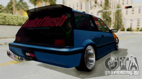 Honda Civic EF9 HellaFlush для GTA San Andreas вид сзади слева