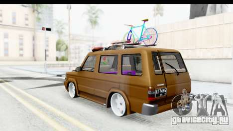 Toyota Kijang Grand Extra with Bike для GTA San Andreas вид сзади слева