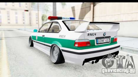 BMW M3 E36 Stance Lithuanian Police для GTA San Andreas вид сзади слева