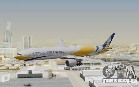 Boeing 777-300ER Singapore Airlines v2 для GTA San Andreas вид сзади слева