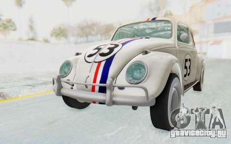 Volkswagen Beetle 1200 Type 1 1963 Herbie для GTA San Andreas вид справа