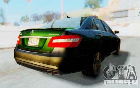 Mercedes-Benz E63 German Police Green для GTA San Andreas вид сзади слева