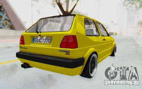 Volkswagen Golf Mk2 Lemon для GTA San Andreas вид сзади слева