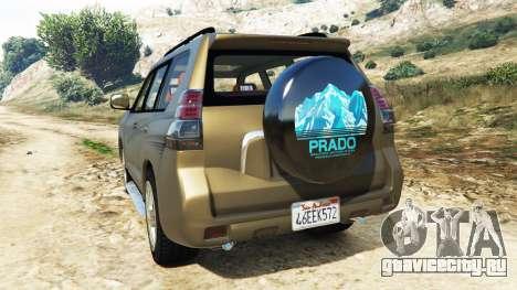 Toyota Land Cruiser Prado 2012 для GTA 5 вид сзади слева