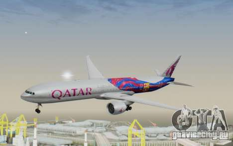 Boeing 777-300ER Qatar Airways v2 для GTA San Andreas вид сзади слева