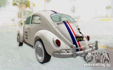 Volkswagen Beetle 1200 Type 1 1963 Herbie для GTA San Andreas вид сзади слева