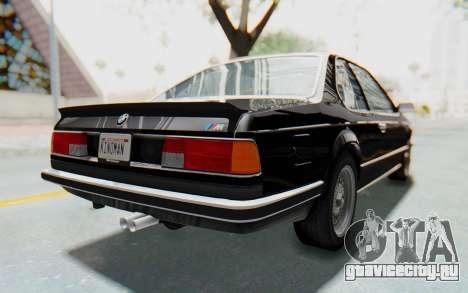 BMW M635 CSi (E24) 1984 IVF PJ3 для GTA San Andreas вид сзади слева