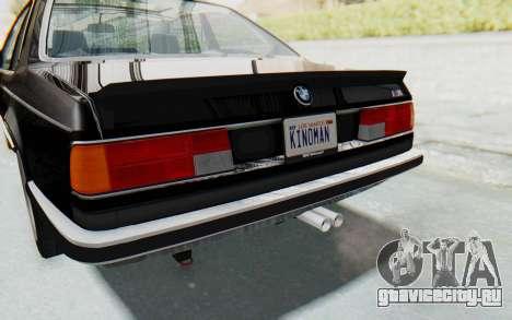 BMW M635 CSi (E24) 1984 IVF PJ3 для GTA San Andreas вид снизу