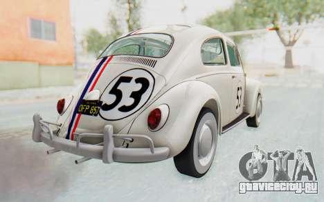 Volkswagen Beetle 1200 Type 1 1963 Herbie для GTA San Andreas вид слева