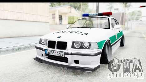 BMW M3 E36 Stance Lithuanian Police для GTA San Andreas вид справа
