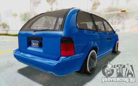 GTA 5 Vapid Minivan Custom для GTA San Andreas вид сзади слева