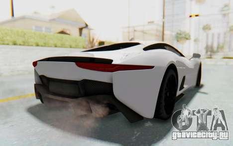 Jaguar C-X75 для GTA San Andreas вид сзади слева
