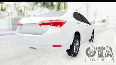 Toyota Corolla 2015 для GTA San Andreas вид сзади слева