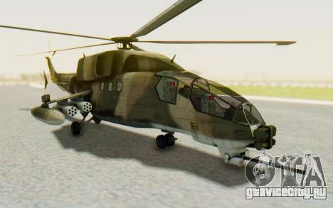 WZ-19 Attack Helicopter Asian для GTA San Andreas вид сзади слева