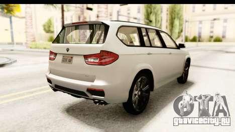 GTA 5 Benefactor XLS SA Style для GTA San Andreas вид сзади слева