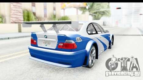 NFS: MW - BMW M3 GTR для GTA San Andreas вид слева