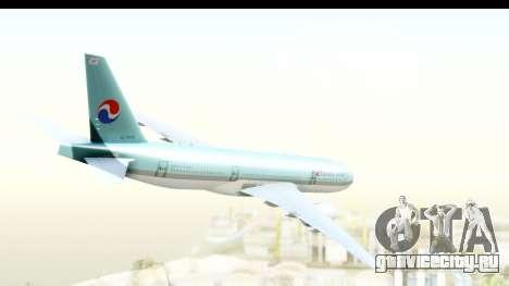 Boeing 777-200ER Korean Air для GTA San Andreas вид слева