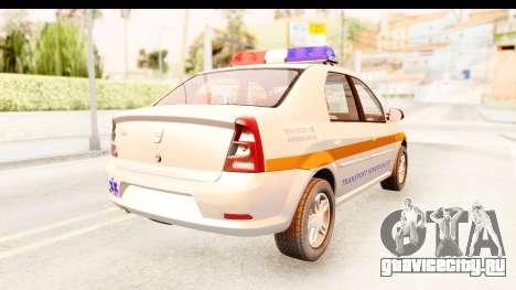 Dacia Logan Facelift Ambulanta v2 для GTA San Andreas вид сзади слева