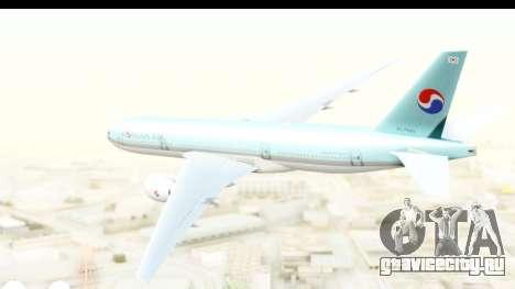 Boeing 777-200ER Korean Air для GTA San Andreas вид справа