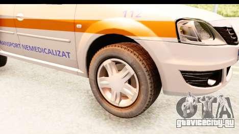 Dacia Logan Facelift Ambulanta v2 для GTA San Andreas вид сзади