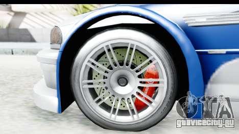 NFS: MW - BMW M3 GTR для GTA San Andreas вид сзади